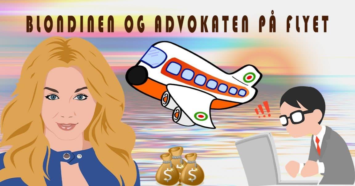 Bilde til vitsen om blondinen og advokaten på flyet